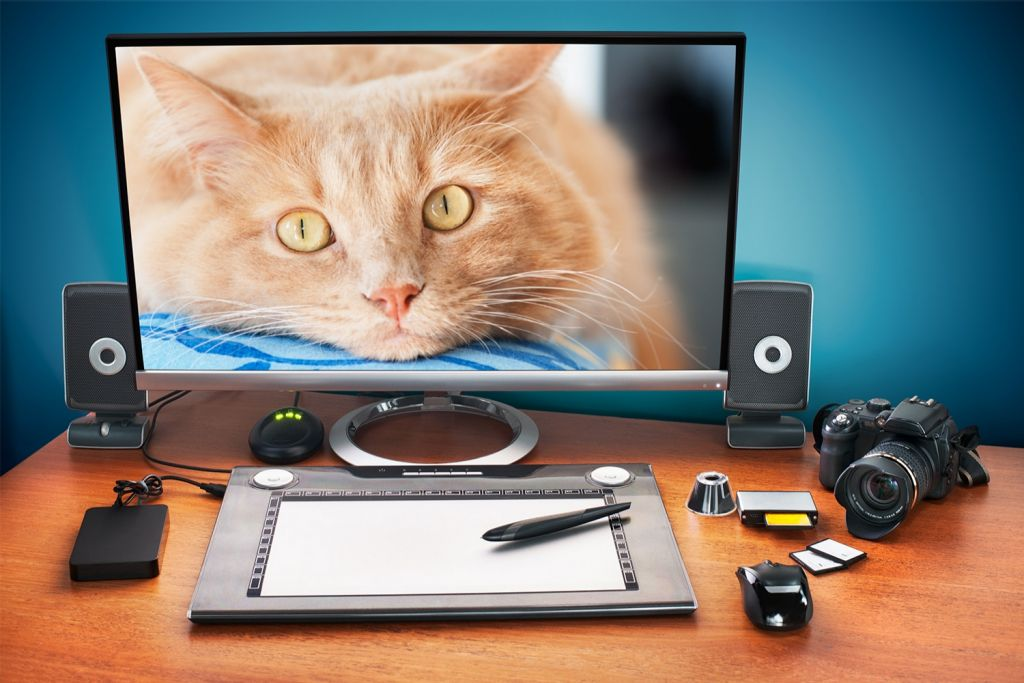 Fotobearbeitung auf einem Desktop-Computer