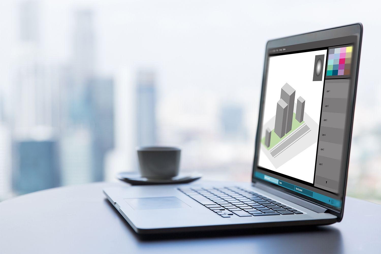 Ein Laptop-Computer für Grafikdesignarbeiten
