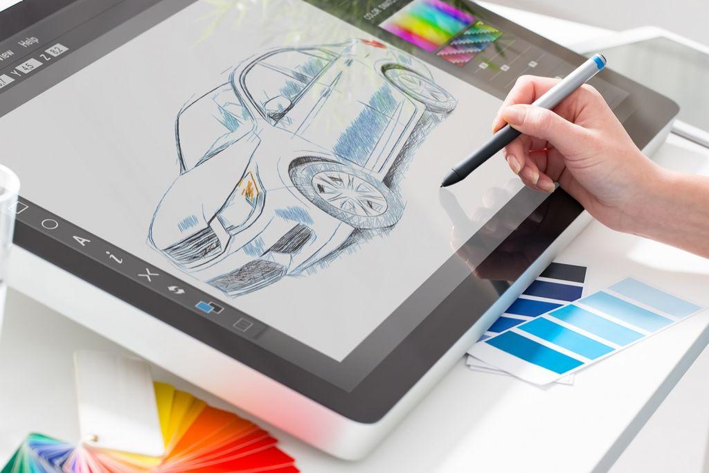 Grafikdesign mit Zeichentablet