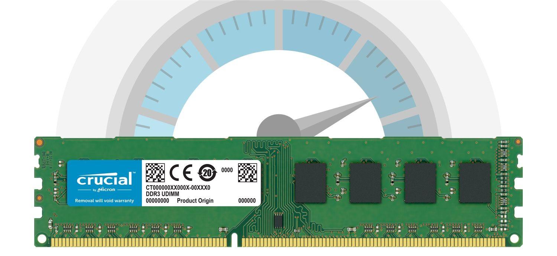 Ein Crucial RAM-Speichermodul vor einem Tacho, der die schnelle Geschwindigkeit anzeigt