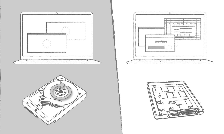 Eine Abbildung, die die Vorteile einer SSD im Vergleich zu einer Festplatte zeigt, wenn es um die Ladezeiten von Computerprogrammen geht