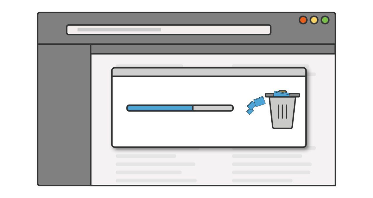 Darstellung eines Fortschrittsbalkens, während unbenutzte Programme oder Anwendungen von einem Computer gelöscht werden.