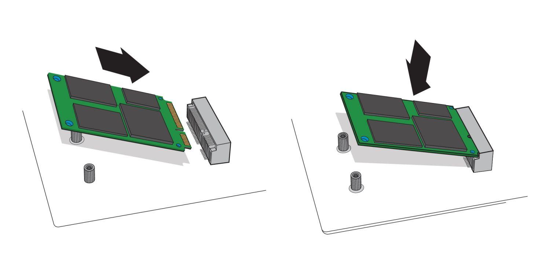 Eine Abbildung zeigt, wie bei einem Desktop-Computer eine mSATA-SSD in den mSATA-Sockel des Motherboards eingesetzt wird