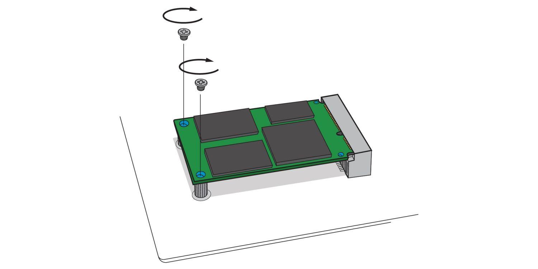 Eine Abbildung zeigt, wie bei einem Desktop-Computer eine neue mSATA-SSD am mSATA-Sockel des Motherboards festgeschraubt wird