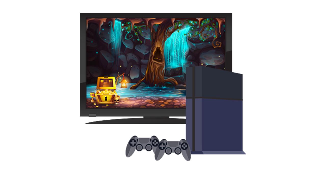Spielkonsole und TV-Bildschirm