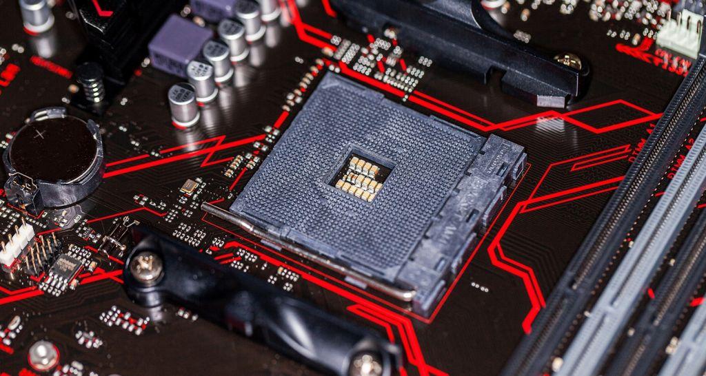 Nahaufnahme von CPU und Motherboard.