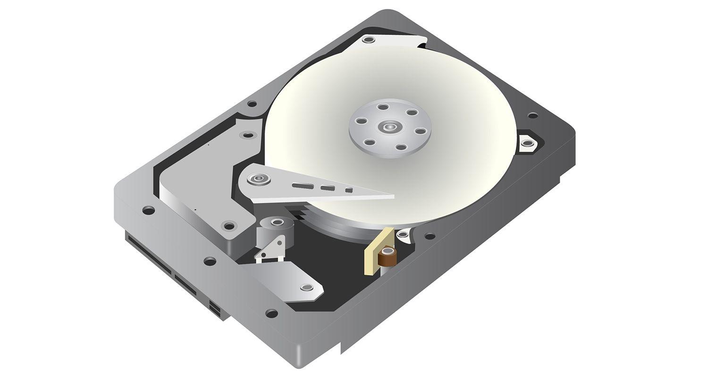 Eine vektorgrafische Darstellung einer Festplatte (hdd) auf einem weißen Hintergrund