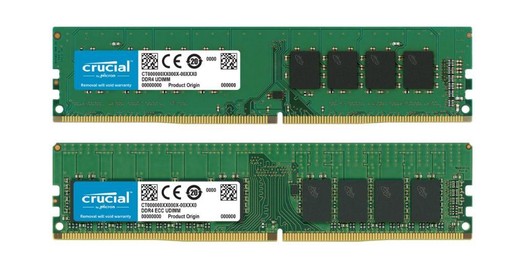 Ein Crucial Non-ECC RAM-Speichermodul und ein Crucial ECC RAM-Speichermodul