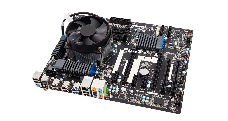 Das Motherboard eines Computers.