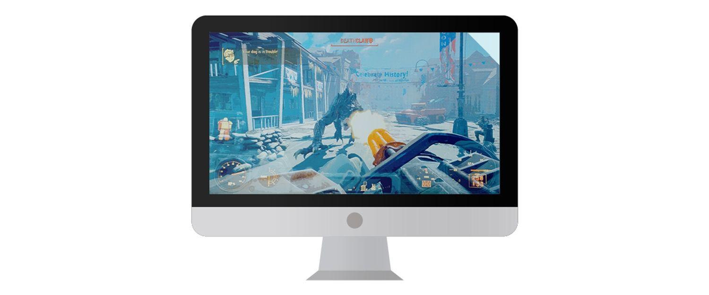 Mac-Computermonitor mit einem Videospiel, das auf dem Bildschirm angezeigt wird.