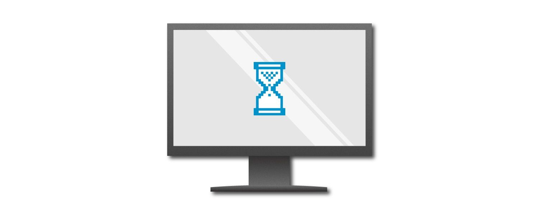 Grafik eines Computerbildschirms mit blauer Eieruhr