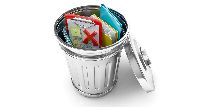 Wenn der Papierkorb geöffnet wird, enthält dieser verworfene Dokumente und Dateien, z.B. Cookies und temporäre Internetbrowser-Dateien, die vom Benutzer gelöscht wurden